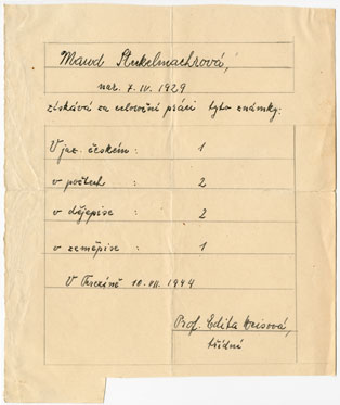 Unique school report of M. Steckelmachrové-Beer, written in Terezin, in 1944.