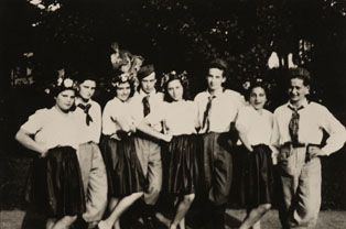 Jewish youth with dance costumes at the park of Štiřín castle. Greta is the second from the right.