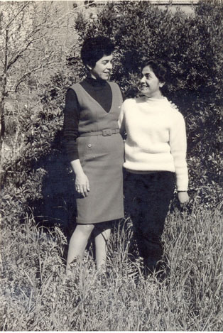 M. Bar-Or, on the left with her sister Nelly, in 1967.